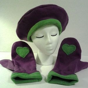 Purple Tam Mittens Moss Green by Have Heart Daily